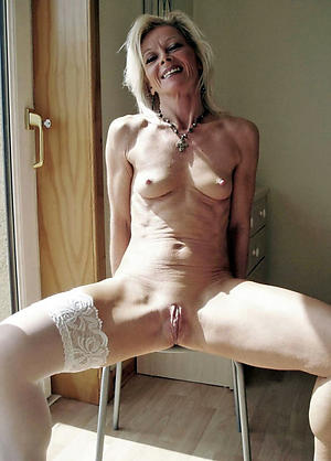in the altogether pics of skinny granny shaved pussy