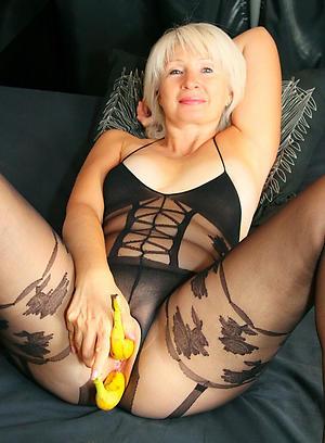 nude age-old lady masturbates