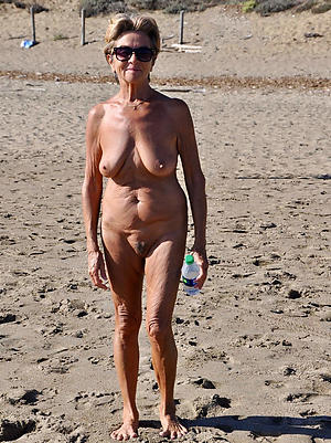 hatless granny on the beach