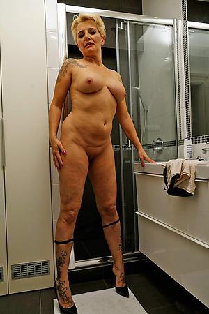 granny high heels posing nude
