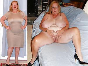erotic beauty granny dressed undressed